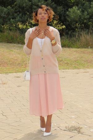 pink Mango skirt - white Forever New bag - light pink Mango cardigan