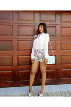 blouse - mint handbag bag - shorts - metal cap pumps heels