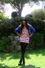 Boots-floral-print-dress-black-beanie-hat-denim-shirt