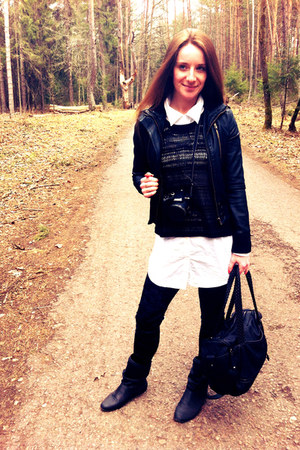 leather jacket Bershka jacket - shirt dress pull&bear shirt - Zara bag