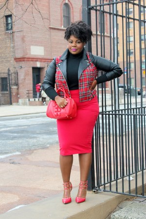 red Topshop skirt - black turtleneck Gap top - red studded Make Me Chic heels