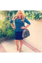 Cape toe pumps heels - speedy 30 Louis Vuitton bag - dark blue Forever 21 skirt