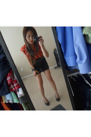 red Forever 21 dress - black Forever 21 shoes - black free peopleorever 21 brace