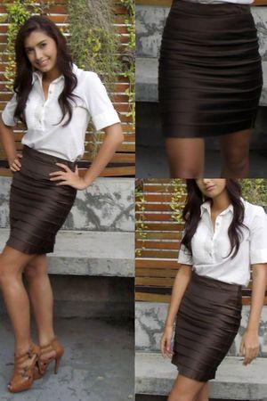 white Jaspal blouse - brown skirt