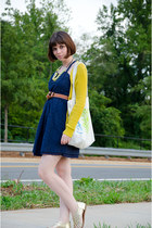 yellow madewell cardigan - blue Target dress - ivory Glamour Owl bag