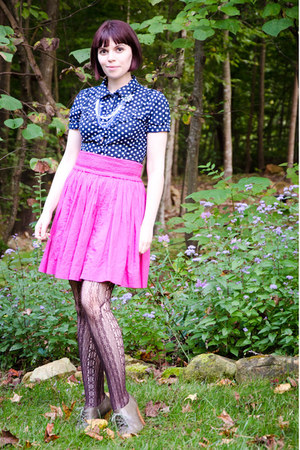 hot pink unknown brand skirt - dark brown Target tights - navy Forever 21 blouse