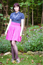 navy Forever 21 blouse - dark brown Target tights - hot pink unknown brand skirt