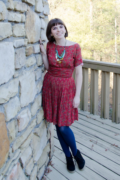 brick red vintage dress - black Jcrew boots - navy Target tights
