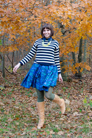 blue BB Dakota dress - tan seychelles boots - navy Jcrew sweater