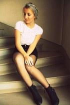 Topshop boots - vintage scarf - vintage lace top - vintage skirt