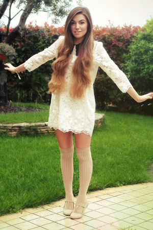 beige over the knee asos socks - white collared storets dress