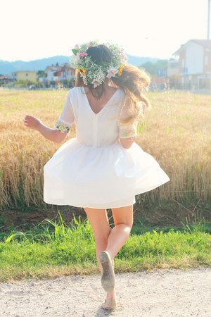 white chiffon Sheinside dress - off white mary-jane ovs flats