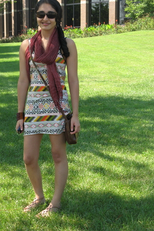 scarf - Forever 21 dress - kohls purse - Old Navy shoes