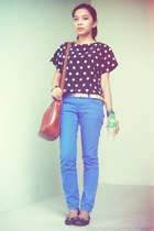 blue pants - tawny bag - silver belt - black polka dots top - black flats