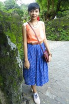 blue skirt - light pink shoes - red bag - yellow belt - orange top