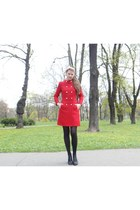 red Marc by Marc Jacobs coat - black falke tights - black Miss Sixty heels - rub