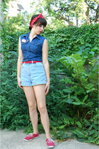 blue Guess shirt - red vintage scarf - light blue American Apparel shorts