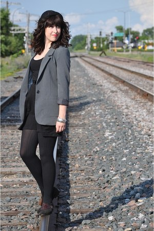 black Target dress - black bowler vintage hat - charcoal gray H&M blazer