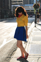 red vintage scarf - blue Topshop dress - yellow cropped Forever 21 jacket