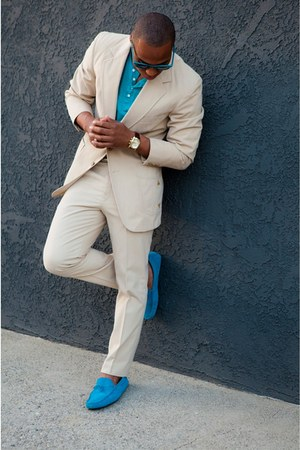 beige blazer - turquoise blue suit