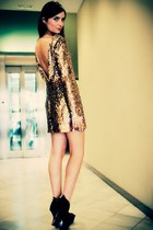 gold sequin Disco Pony dress