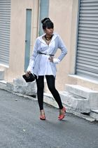 white vintage blouse - silver random cardigan - black Market leggings - red Zara