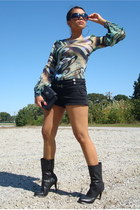 black Forever21 shorts - black calvin klein boots - black vintage chanel purse