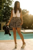 white Bfs wifebeater top - black f21 skirt - eggshell boutique shoes - black FRE