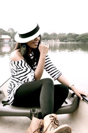 brown boutique boots - eggshell Sportsgirl hat - black Market leggings