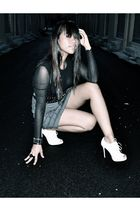 black top - black accessories - gray skirt - black belt - white shoes - black vi