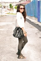 army green Topshop leggings - neutral silk Topshop shirt - black Market bag - da