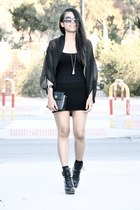 black betts boots - black Forever 21 dress - black vintage chanel purse - black