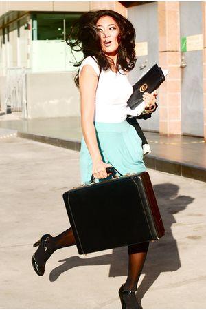 blue DISTRIKMODE skirt - black Zara blazer - black vintage - black vintage Celin