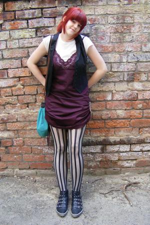 H&M vest - Office shoes - reworked vintage dress - Oasis tights
