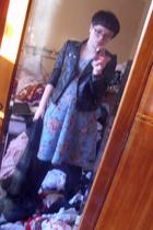blue vintage dress - black Primark jacket - black new look tights - black new lo