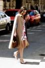 Magenta-orsay-dress-dark-brown-thrifted-vintage-bag-camel-thrifted-vintage-c