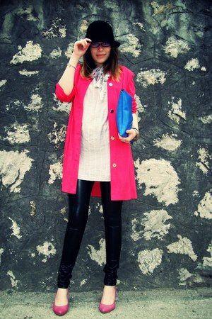 black faux leather pieces leggings - hot pink vintage blazer - blue DIY bag