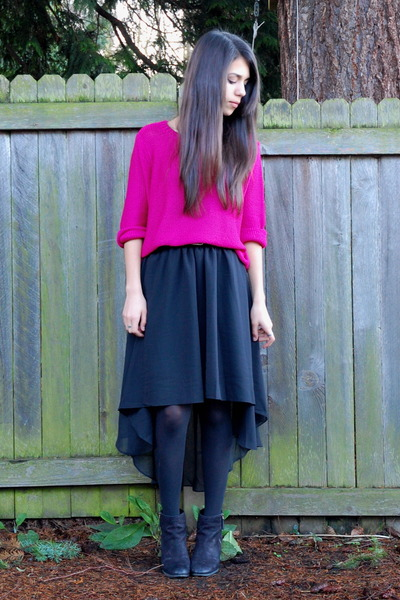 black high-low hem Sheinside skirt - hot pink H&amp;M sweater