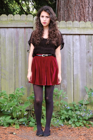 crimson American Apparel skirt - black Sugarlips top