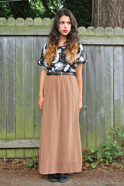 black Sheinside top - camel Forever 21 skirt