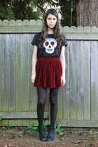 black Nordstrom boots - crimson American Apparel skirt - black DIY t-shirt