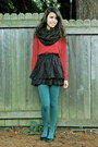 Brick-red-forever-21-sweater-forest-green-urban-outfitters-tights