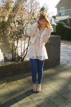 beige H&M jacket - pink Topshop dress - blue jeans - beige asos shoes - gold nec