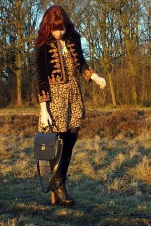 mustard floral lace Zara Trf dress - black Topshop boots