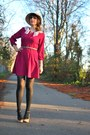 Black-sabine-shoes-magenta-vera-moda-dress-cream-felt-wool-vintage-hat