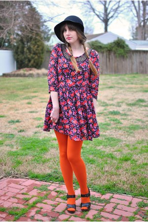 orange Topshop tights - pink silky dress - black wool vintage hat