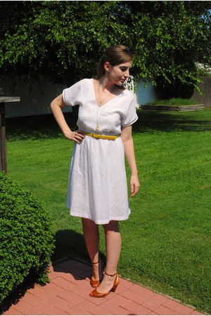 white sheer Vintage Avon Fashions dress - tawny crown vintage shoes