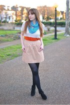 nude J Crew skirt - black Mossimo boots - carrot orange H&M shirt