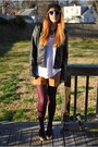 Black-moto-tulle-jacket-white-slouchy-zara-shirt-purple-tights