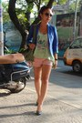 Blue-blazer-pink-shorts-aquamarine-top